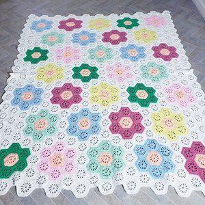 Handmade Crochet Afghan Wht Multi Honeycomb 68x85